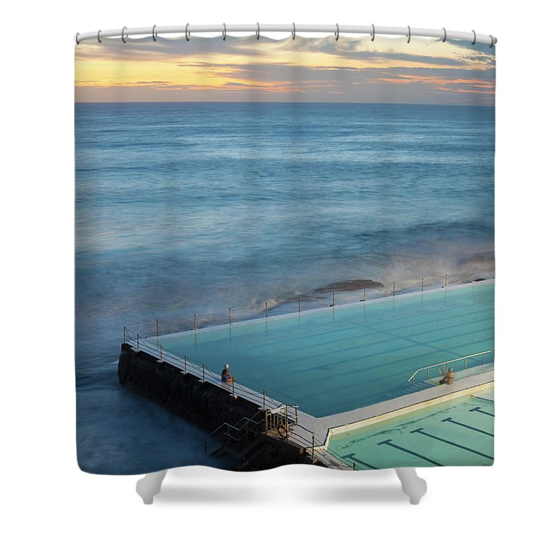Scenics Shower Curtain featuring the photograph Swimming Pools At Bondi Beach, Before by Kathrin Ziegler
