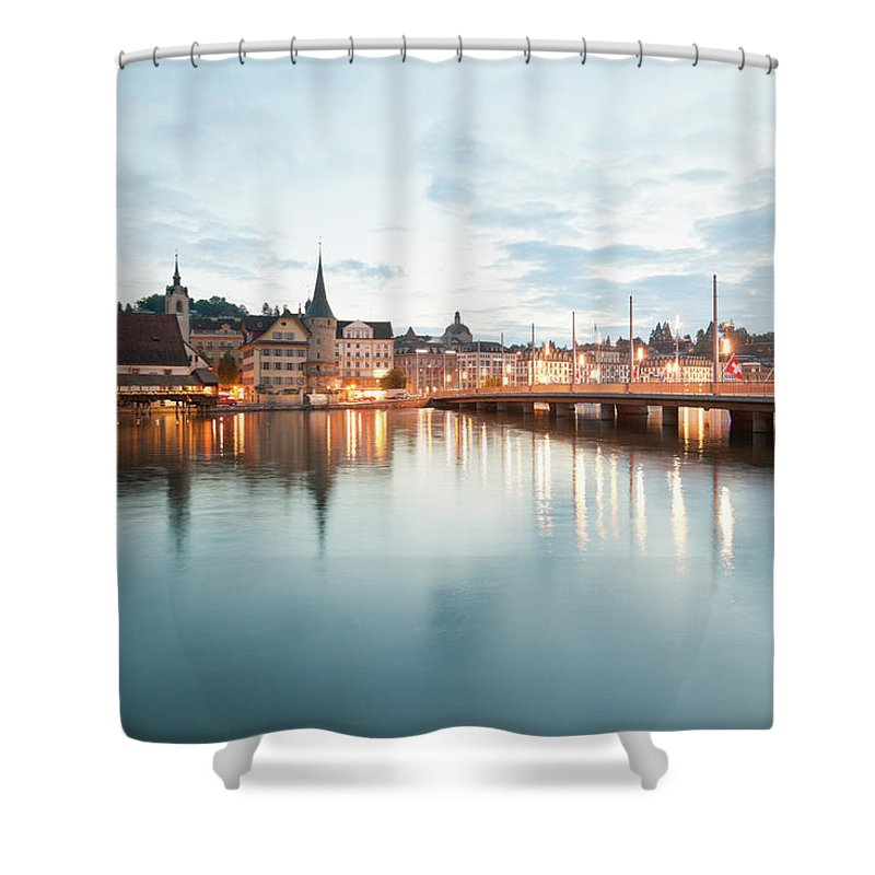 Dawn Shower Curtain featuring the photograph Switzerland, Lucerne, View Of by Westend61