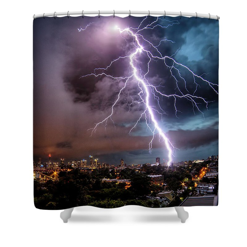 Tranquility Shower Curtain featuring the photograph Sydney Summer Lightning Strike by Australian Land, City, People Scape Photographer