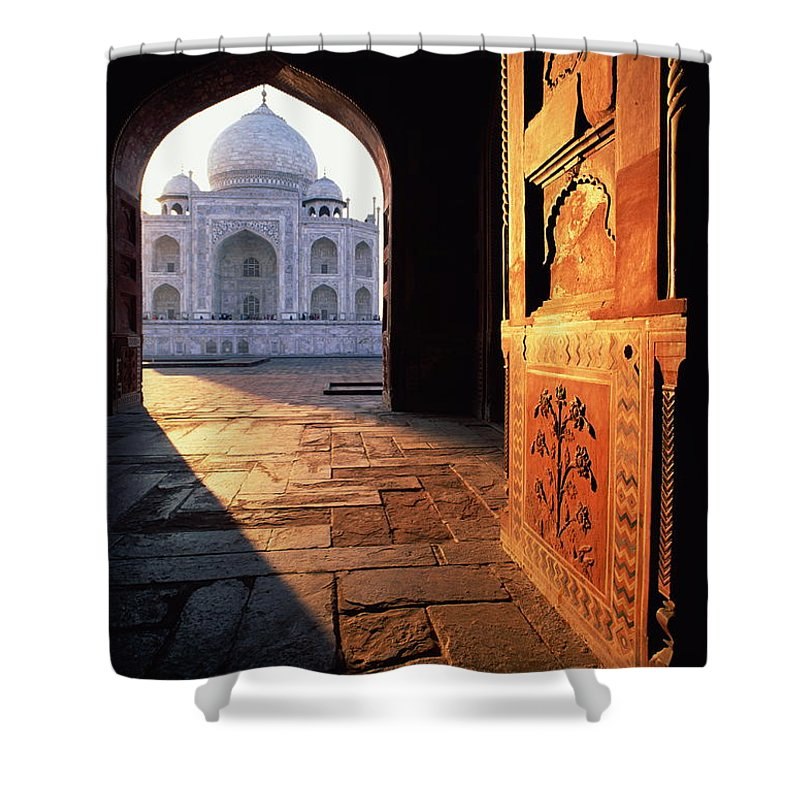 Arch Shower Curtain featuring the photograph Taj Mahal, Agra India by Andrea Pistolesi