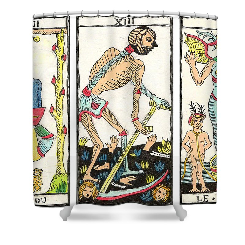 Tarot Shower Curtain featuring the drawing Tarot Freedom by Massimo Pietrobon
