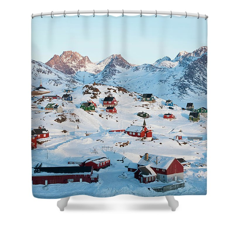 Tranquility Shower Curtain featuring the photograph Tasiilaq, Greenland In Winter by Peter Adams