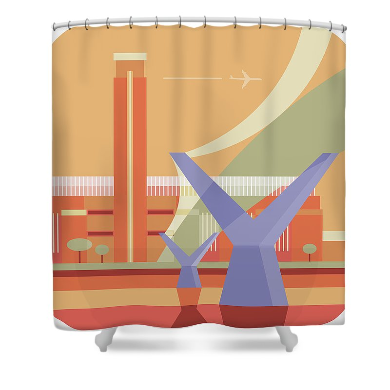 London Millennium Footbridge Shower Curtain featuring the digital art Tate Gallery And Millennium Bridge by Nigel Sandor