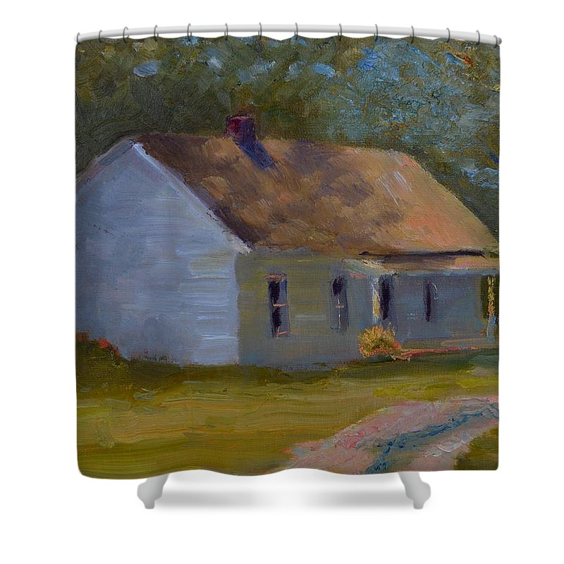 Kentucky Shower Curtain featuring the painting Tay's Cottage by Roger Snell