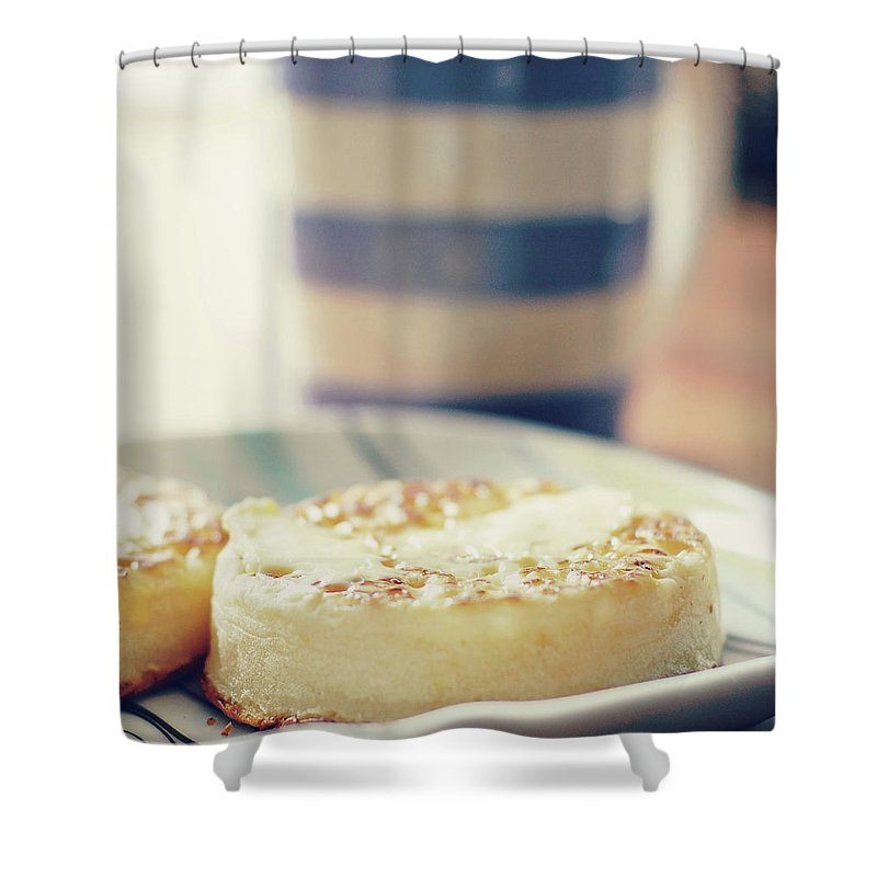 Healthy Eating Shower Curtain featuring the photograph Tea And Crumpets by Deborah Slater