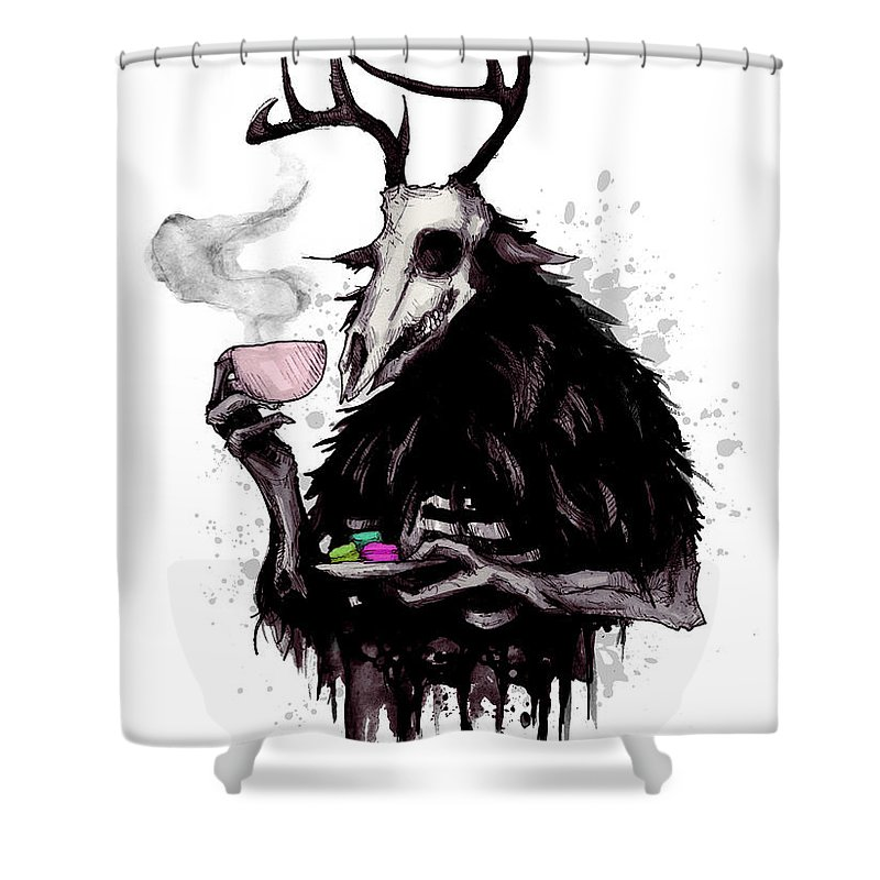Wendigo Shower Curtain featuring the drawing Tea Time by Ludwig Van Bacon