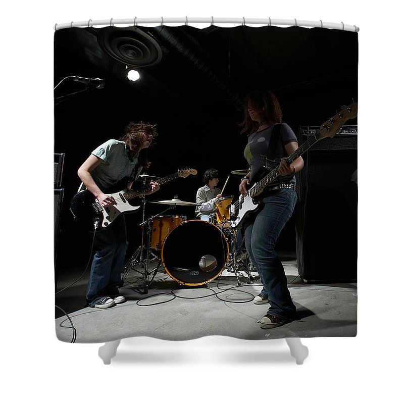 Cool Attitude Shower Curtain featuring the photograph Teenage 14-16 Band Playing Instruments by Thomas Northcut