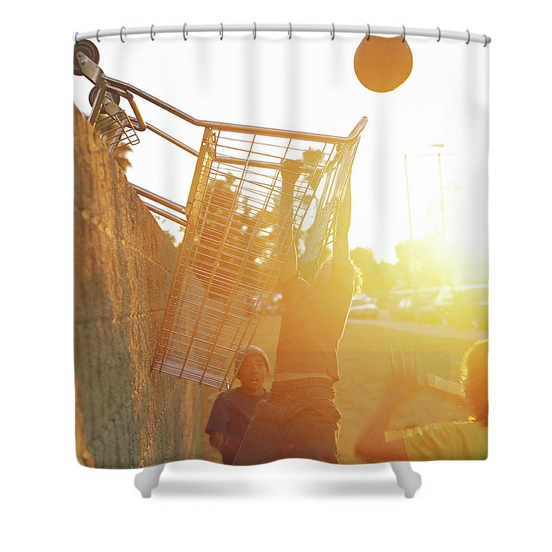 Hanging Shower Curtain featuring the photograph Teenage Boys 13-15 Playing Basketball by Sean Murphy