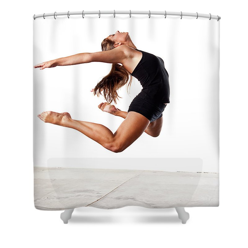 People Shower Curtain featuring the photograph Teenage Girl Jumping by Daxus