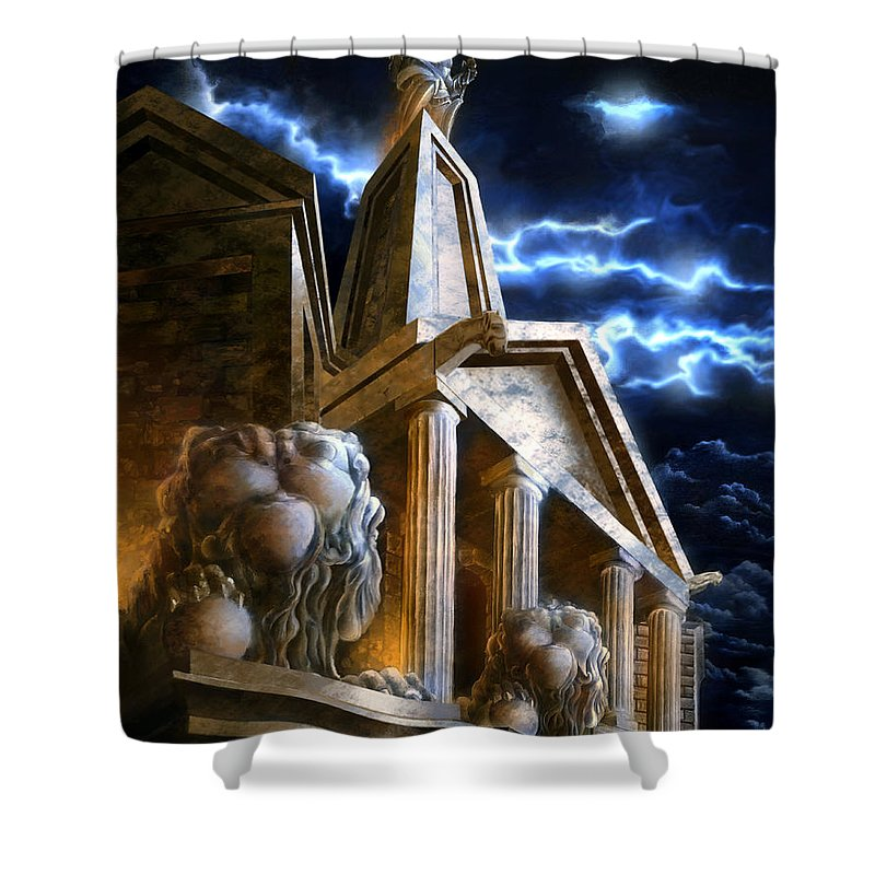 Hercules Shower Curtain featuring the mixed media Temple Of Hercules In Kassel by Curtiss Shaffer