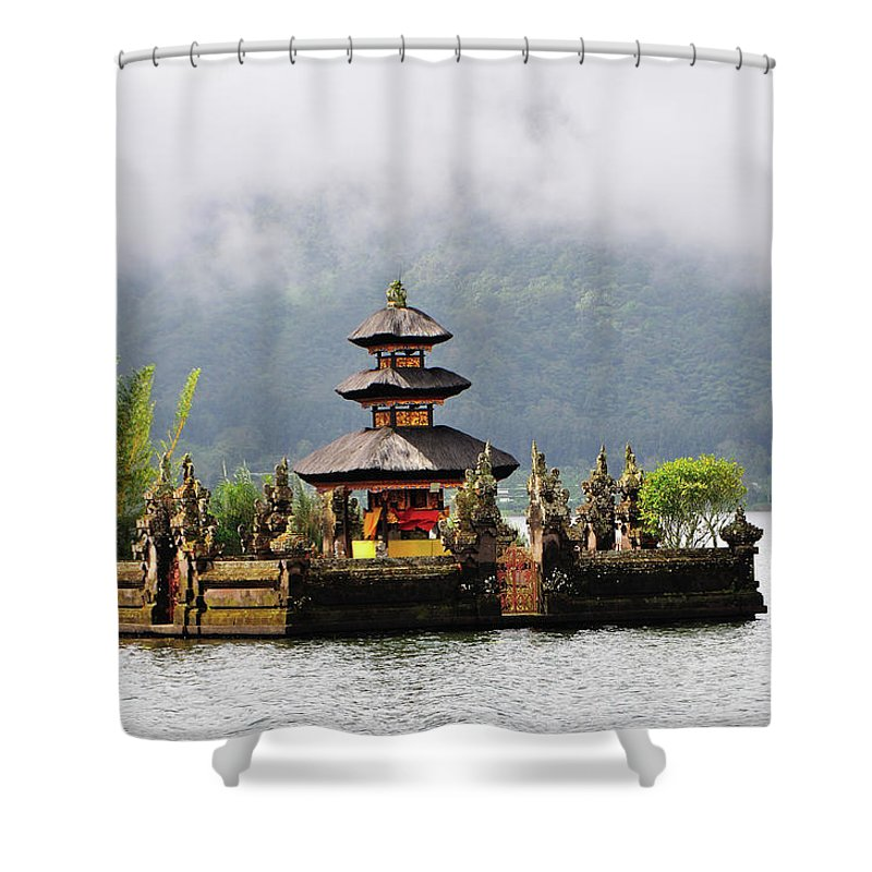 Tranquility Shower Curtain featuring the photograph Temple On Lake, Bali by Aaron Geddes Photography