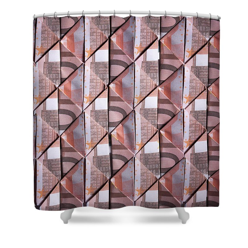 Shadow Shower Curtain featuring the photograph Ten Euro Banknotes Folded Into Diamond by Larry Washburn