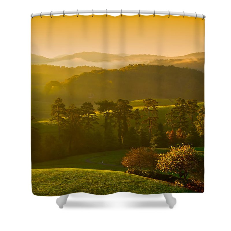 Dawn's Gentle Rays Lightly Brush The Rolling Hills Of The Asmokey Mountains Shower Curtain featuring the photograph Smokey Mountain Sunrise by Tom Gresham