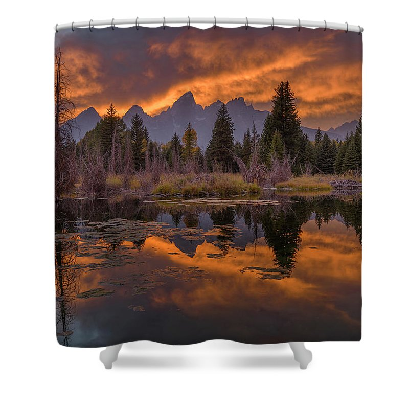 North America Shower Curtain featuring the photograph Teton Glow by Christian Heeb