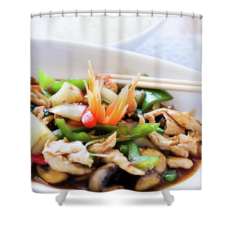 Chicken Meat Shower Curtain featuring the photograph Thai Basil Chicken Dish And Bowl Of by Rapideye