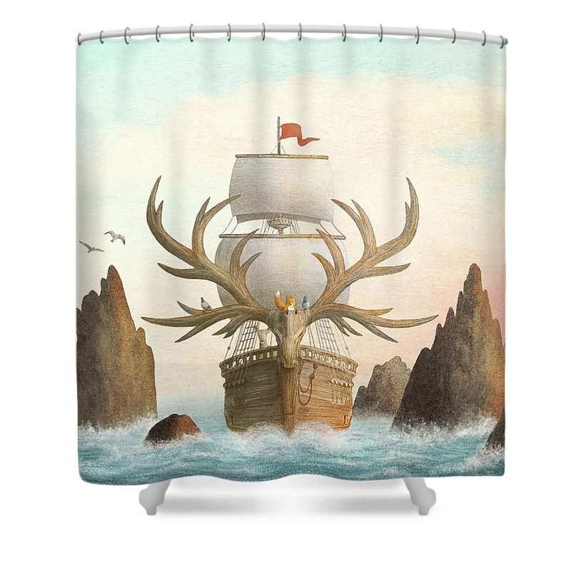 Ship Shower Curtain featuring the drawing The Antlered Ship by Eric Fan