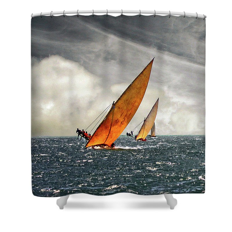Kenya Shower Curtain featuring the photograph The Art Of Swahili Dhow Racing by David Schweitzer