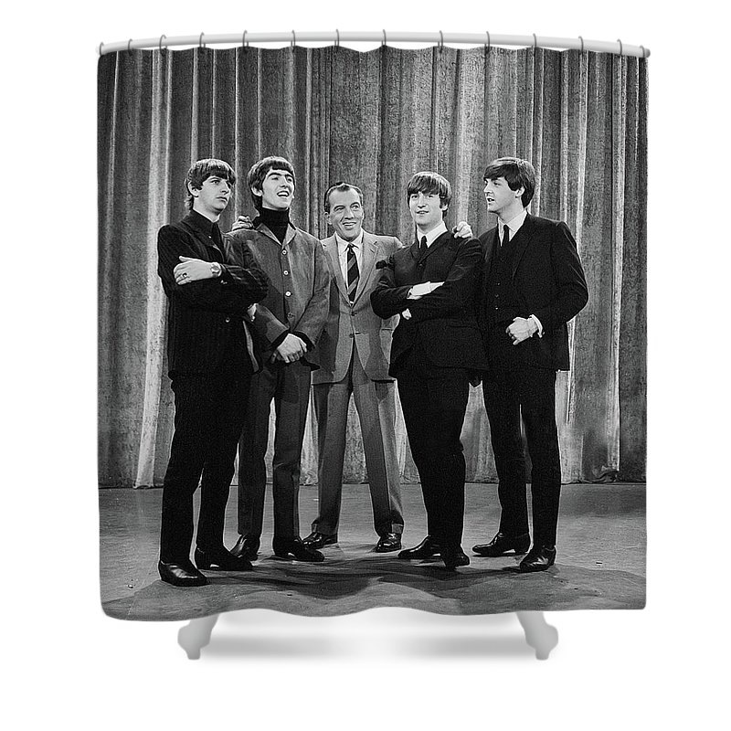 The Beatles Shower Curtain featuring the photograph the beatles and ed sullivan - February, 1964 by Mountain Dreams