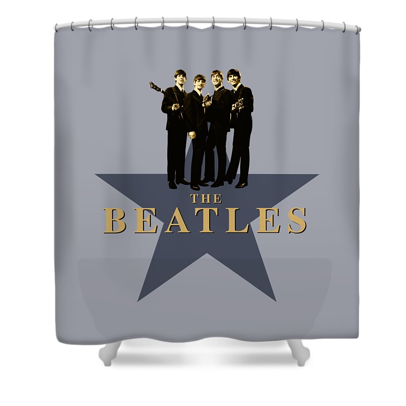 The Beatles Shower Curtain featuring the digital art The Beatles - Signature by David Richardson