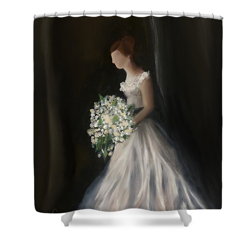 Shower Curtain featuring the painting The Big Day by Fe Jones