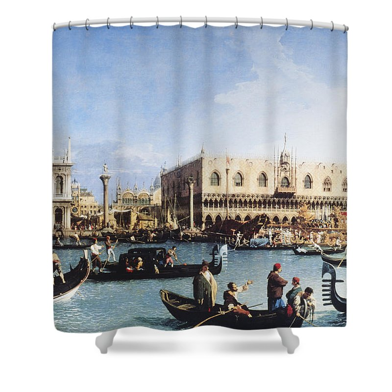 People Shower Curtain featuring the digital art The Bucintoro At The Molo On Ascension by Fototeca Gilardi