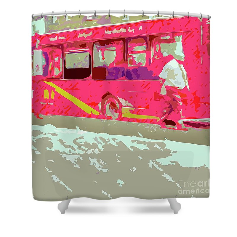 Bus Shower Curtain featuring the photograph The Bus by Nigel Dudson