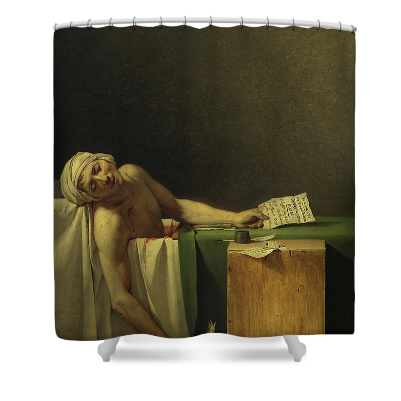 Jacques-louis David Shower Curtain featuring the painting The Death Of Marat, 1793 by Jacques-Louis David