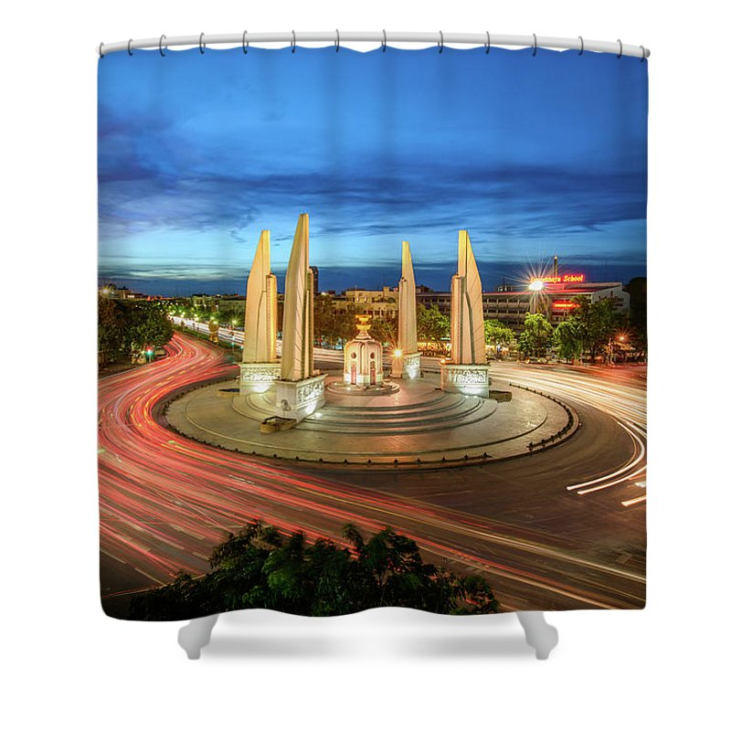 Built Structure Shower Curtain featuring the photograph The Democracy Monument by Thanapol Marattana