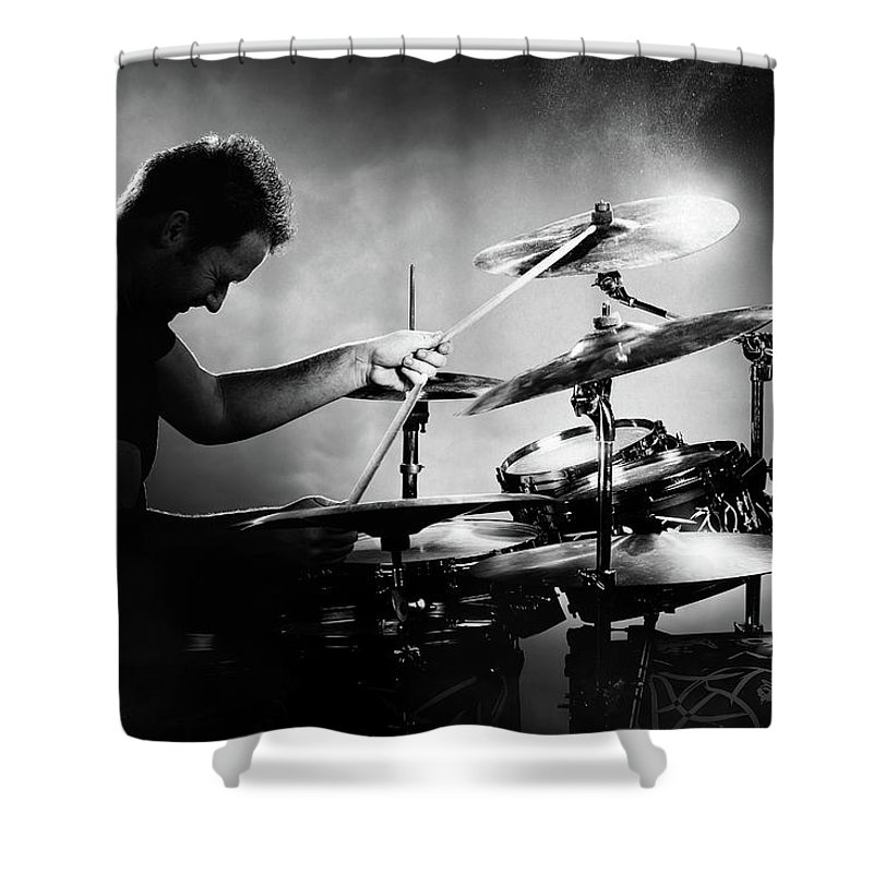 Rock And Roll Drummer Shower Curtains