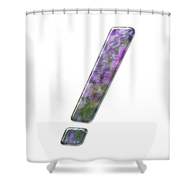 Exclamation Mark Shower Curtain featuring the photograph The Exclamation Mark Symbol J by Humorous Quotes