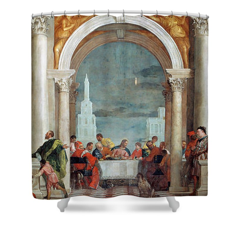 Paolo Veronese Shower Curtain featuring the painting The Feast In The House Of Levi, Venice, 1573 by Paolo Veronese