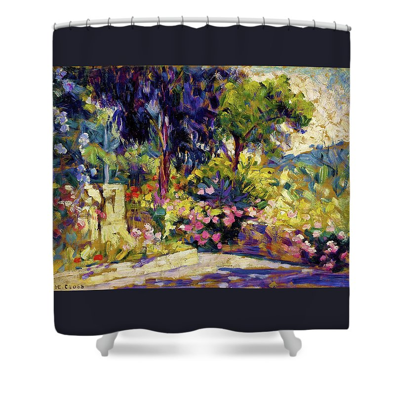The Flowered Terrace Shower Curtain featuring the painting The Flowered Terrace - Digital Remastered Edition by Henri Edmond Cross