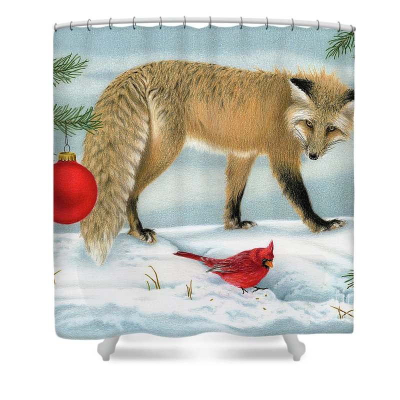 Christmas Shower Curtain featuring the painting The Fox And The Cardinal by Sarah Batalka