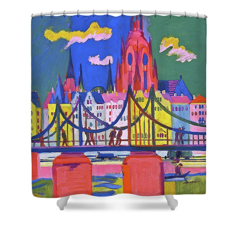 The Frankfurt Cathedral Shower Curtain featuring the painting The Frankfurt Cathedral - Digital Remastered Edition by Ernst Ludwig Kirchner