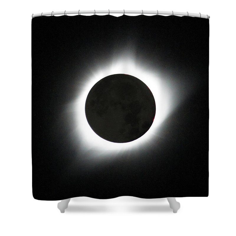 Solar Eclipse Shower Curtain featuring the photograph The great American Eclipse by Nunzio Mannino