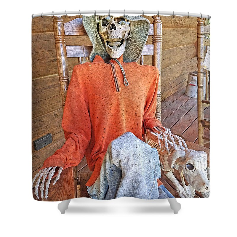 Skeleton Shower Curtain featuring the photograph The Greeter by Betsy Knapp