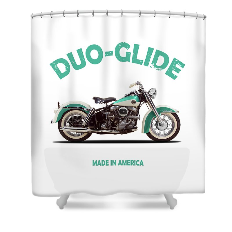 Harley Davidson Shower Curtain Featuring The Photograph Duo Glide 1958 By Mark Rogan