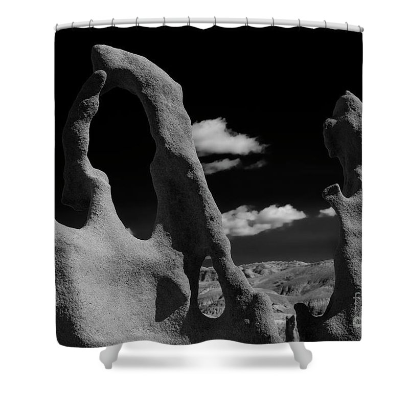 Fantasy Canyon Shower Curtain featuring the photograph The Harp and Staff by Mike Dawson