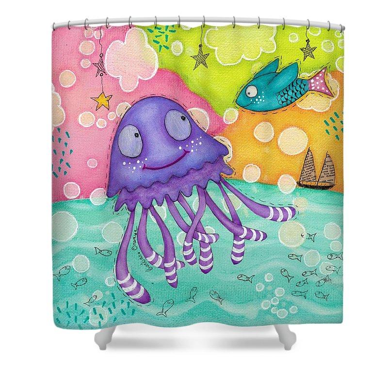 Jellyfish Shower Curtain featuring the mixed media The Jellyfish by Barbara Orenya