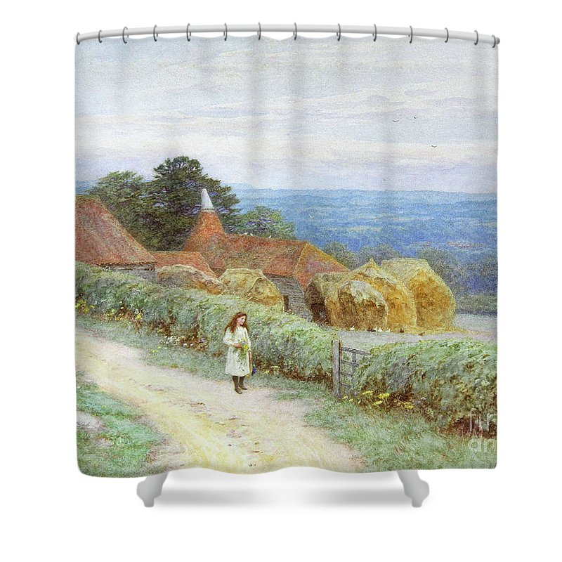 Picking Shower Curtain featuring the painting The Kentish Farmhouse At Crockham Hill by Helen Allingham