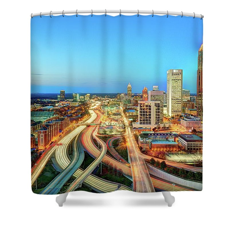 Atlanta Shower Curtain featuring the photograph The Lifeblood Of Atlanta by Photography By Steve Kelley Aka Mudpig