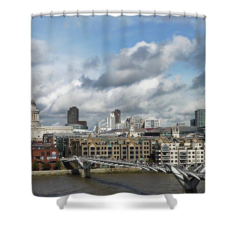 London Millennium Footbridge Shower Curtain featuring the photograph The London Skyline Towards St Pauls by Eyespy