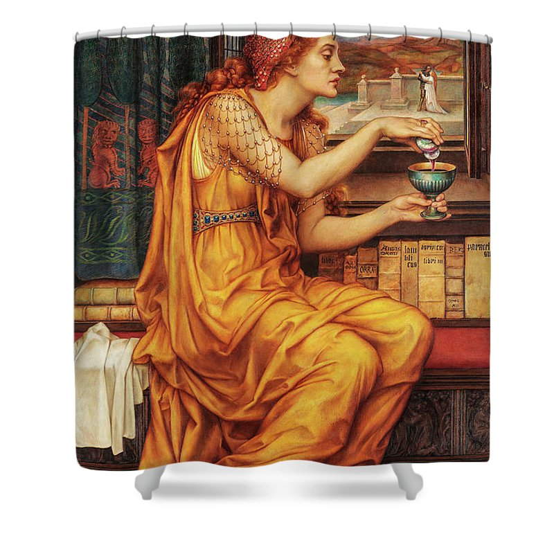 Evelyn De Morgan Shower Curtain featuring the painting The Love Potion, 1903 by Evelyn De Morgan