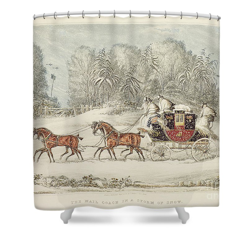 The Mail Coach In A Storm Of Snow Shower Curtain featuring the painting The Mail Coach In A Storm Of Snow 1825 by James Pollard