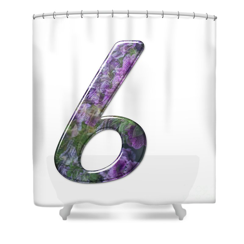 Floral Shower Curtain featuring the photograph The Number Six by Humorous Quotes