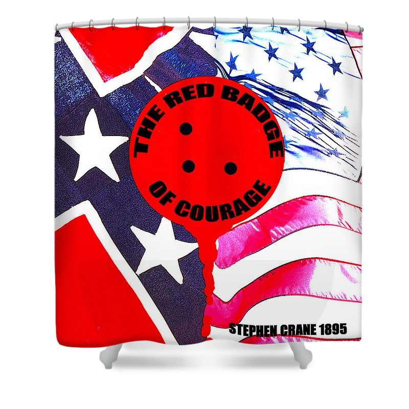 The Red Badge Of Courage Shower Curtain featuring the mixed media The Red Badge Of Courage Book Cover Art by David Lee Thompson
