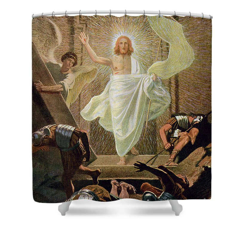 Miraculous Shower Curtain featuring the painting The Resurrection Of Christ By Gebhard Fugel by Gebhard Fugel