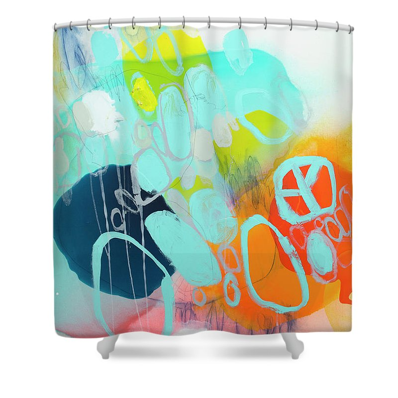 Abstract Shower Curtain featuring the painting The Right Thing by Claire Desjardins