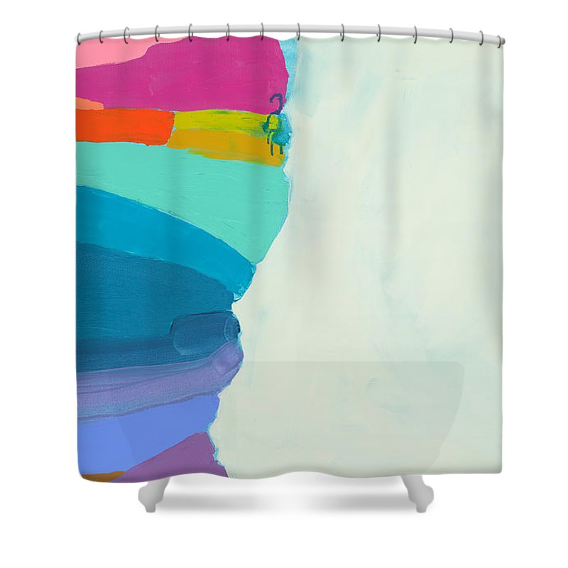 Abstract Shower Curtain featuring the painting The Right Timing by Claire Desjardins