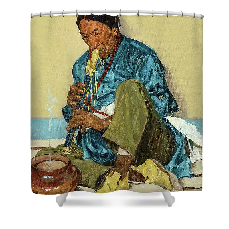 Walter Ufer Shower Curtain featuring the painting The Song Of The Olla, 1926 by Walter Ufer